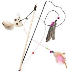 딩동펫 고양이 낚시대 우드 야옹이 + 깃털 + 깃털 와이어 장난감 세트, 혼합 색상, 1세트