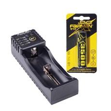 페어맨 범용 고속 배터리 충전기 FLIC-110 + X3500 18650 충전지 3500mAh, 1세트