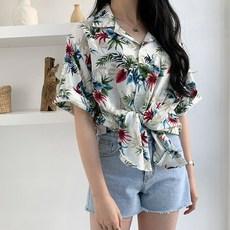 입꼬 야자수 패턴 하와이안 린넨 셔츠(초상권및상표권특허)
