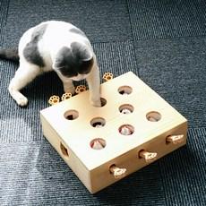 펫콤마 캣펀치 고양이 움직이는 쥐잡기 원목 장남감 5구 8구