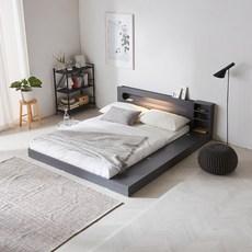 파로마 에반 LED 저상형 침대/수납형 퀸(Q)_20T라텍폼스, 그레이