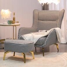 윙체어 안락 소파 쇼파 인테리어 의자 북유럽 1인용 매장 거실 카페 암체어 (화물배송무료), 밀레니엄 소파 의자+페달