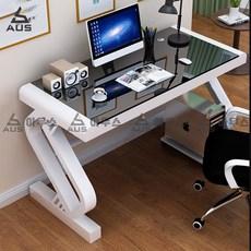 아우스 AUS 강화유리 컴퓨터책상 게이밍책상 컴퓨터테이블 학생책상 서재책상 사무용책상 1인용 2인용, 화이트+블랙 80x60x75cm