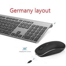 무선 키보드 마우스 세트 무선 키보드 및 마우스 세트 2.4G 인체 공학 무소음 게이밍, 협력사, 독일 레이아웃
